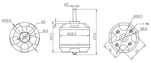 emax xa2212 980 kv multirotor fırçasız motor boyutları